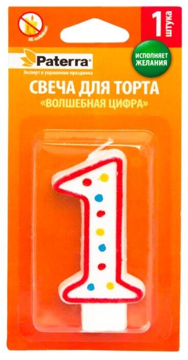 Paterra Свеча для торта Волшебная цифра 1 белый/красный