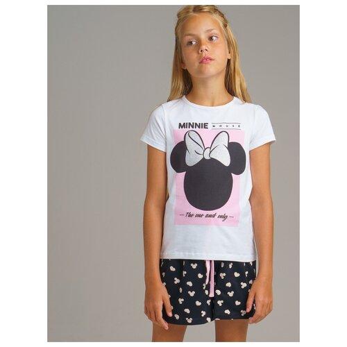 Купить Пижама playToday размер 134, белый/черный/розовый, Домашняя одежда