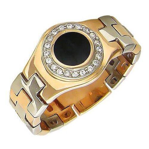 Эстет Кольцо с фианитами и ониксом из комбинированного золота 01К462290-1, размер 19 фото