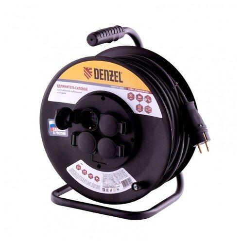 Denzel Удлинитель силовой на стальной катушке, КГ 3х1,5 50 м, 4 розетки с крышкой, IP40, 16 А, серия УХз16 1208470 brennenstuhl удлинитель на катушке garant 40 м прорезинный кабель cablepilot