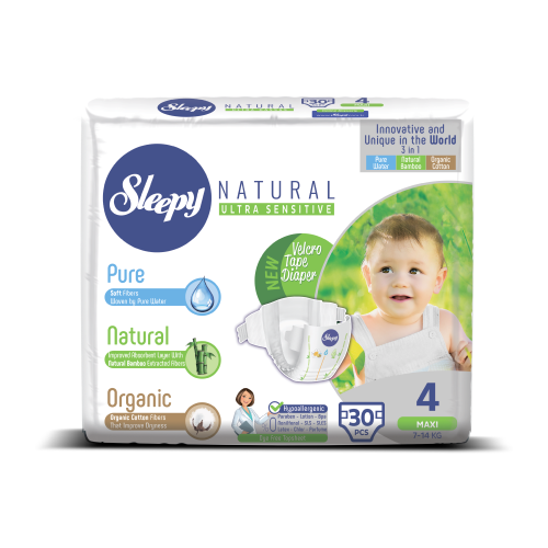Купить Sleepy подгузники Natural Ultra Sensitive 4 (7-14 кг) 30 шт., Подгузники