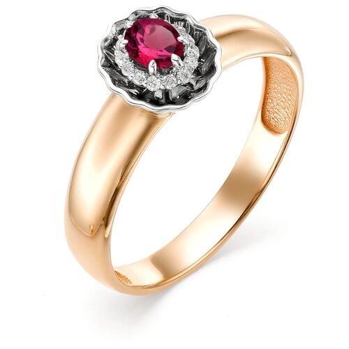 АЛЬКОР Кольцо с рубином и бриллиантами из красного золота 12462-103, размер 17.5 фото