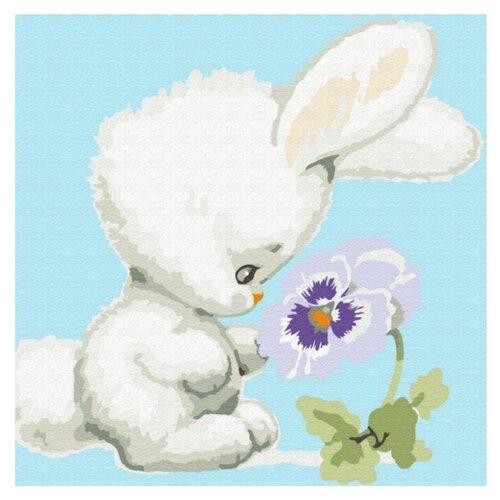Molly Картина по номерам «Зайчонок с цветком» 20х20 см (KH0452) molly картина по номерам тигр 40 50 см