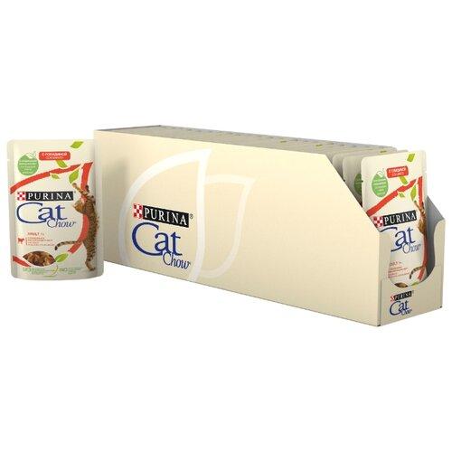 Корм для кошек CAT CHOW (0.085 кг) 24 шт. Adult с говядиной и баклажаном в желеКорма для кошек<br>