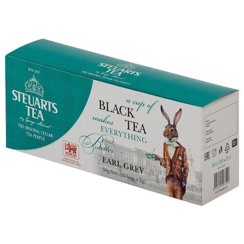 Чай черный Steuarts Tea Earl Grey в пакетиках, 25 шт. twinings earl grey tea черный ароматизированный чай в пакетиках 25 шт