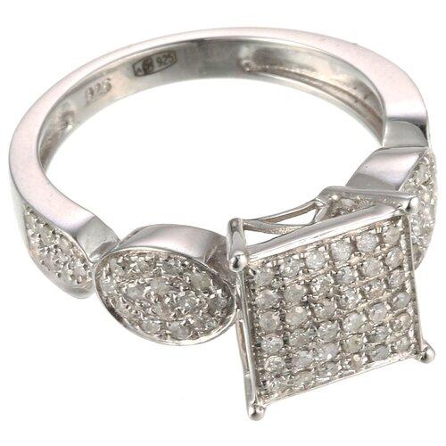 ELEMENT47 Кольцо из серебра 925 пробы с бриллиантами 3111S_WG, размер 17.5