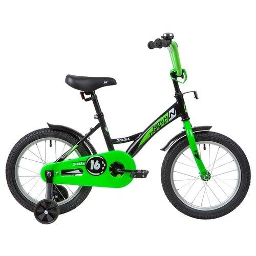 цена на Детский велосипед Novatrack Strike 16 (2020) черный/зеленый (требует финальной сборки)