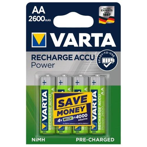 Фото - Аккумулятор Ni-Mh 2600 мА·ч VARTA Recharge Accu Power 2600 AA 4 шт блистер аккумулятор ni mh 2600 ма·ч varta recharge accu power 2600 aa 4 шт блистер