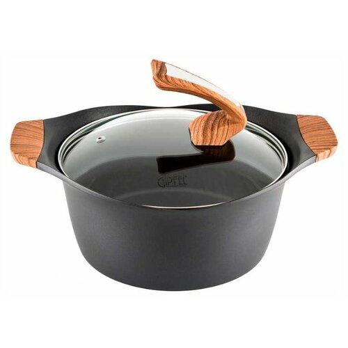 Кастрюля GiPFEL Pasat 5,96 л, черный/коричневый