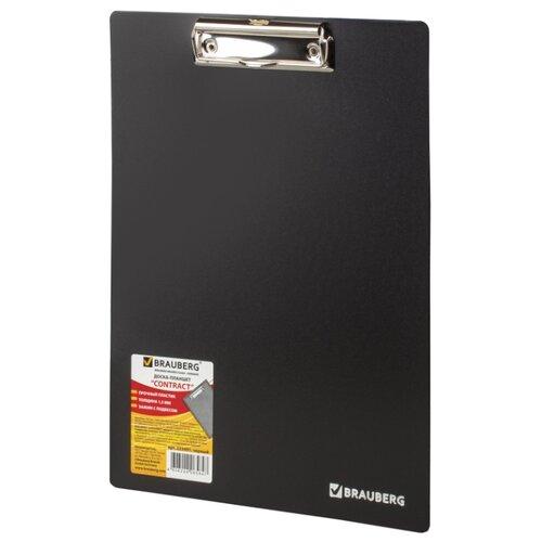BRAUBERG Доска-планшет Contract А4 с верхним прижимом черный канцелярия brauberg папка планшет contract а4 с прижимом и крышкой