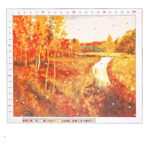 Канва для вышивания с рисунком Арт Узор Левитан. Золотая осень, красный/желтый 39 х 47 см
