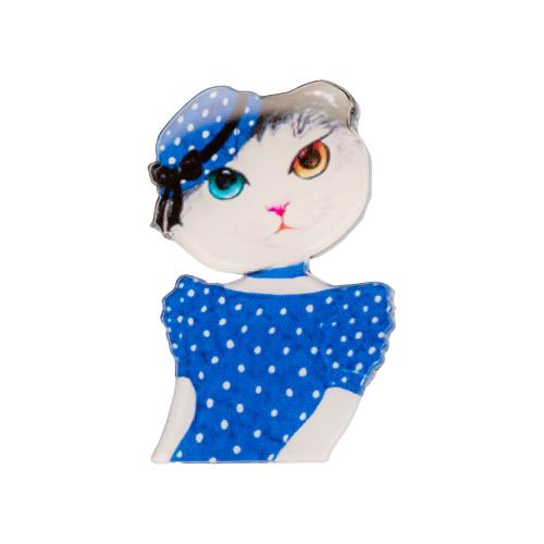 OTOKODESIGN Брошь Кошечка в синем платье 52345 фото