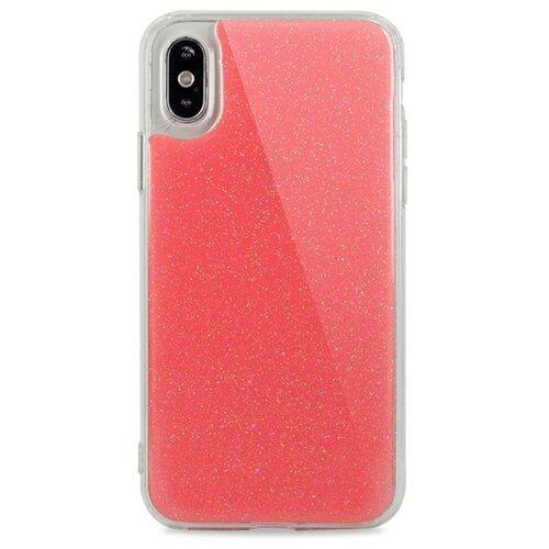 Противоударный силиконовый чехол для ( ) iPhone X / XS Гель с блестками / (Розовый)