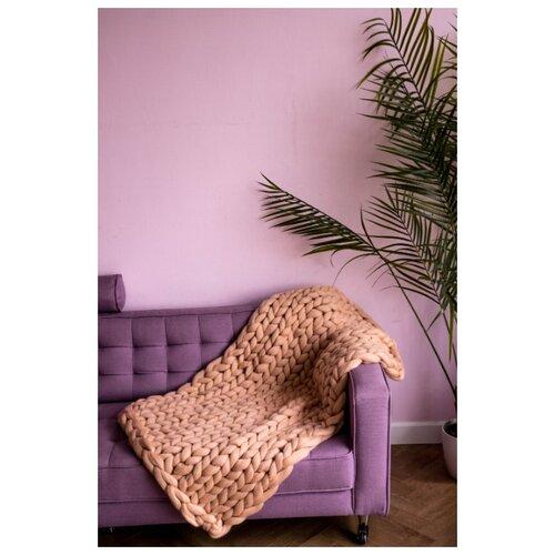 Плед из 100% шерсти CLOUDLET размер L (130 x 170 см) /Персиковый