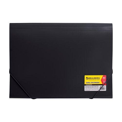 Купить BRAUBERG Папка на резинках Business А4, 13 отделений, пластик черный, Файлы и папки