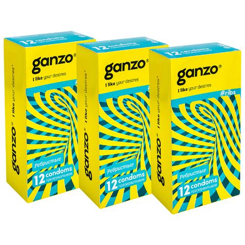 Презервативы Ganzo Ribs (3 уп. по 12 шт.) презервативы ganzo juice 12 шт