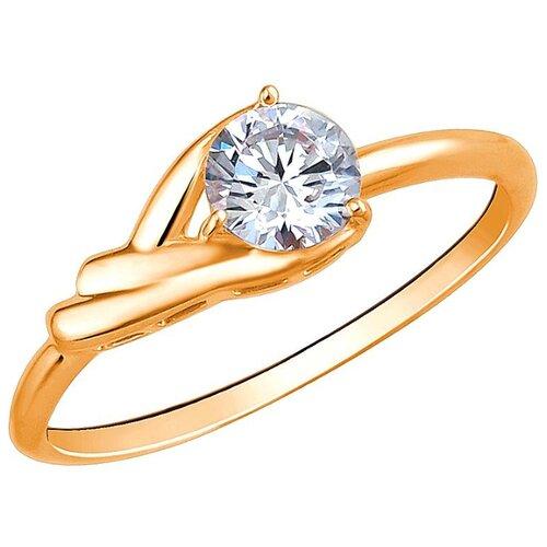 Эстет Кольцо с 1 фианитом из красного золота 01К1112769, размер 19 ЭСТЕТ