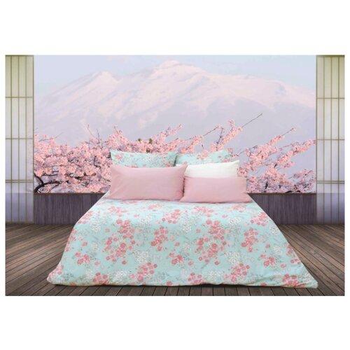 Постельное белье семейное Sova & Javoronok Японский сад 50х70 см, перкаль розовый/голубой кпб семейное голубой попугай сирень постельное белье с рисунком