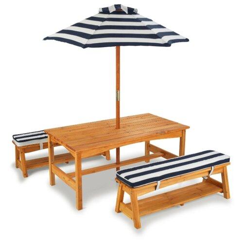 Комплект мебели KidKraft (стол, 2 скамейки, зонт), сине-белые полосы