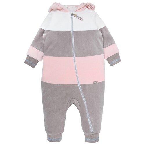 Комбинезон Мамуляндия 19-504 размер 98, молочный/серый/розовый комбинезон vorob i размер 98 серый
