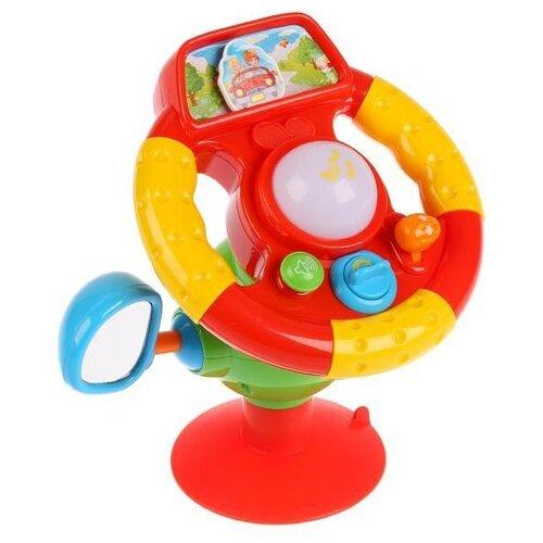 Купить Развивающая игрушка Умка Музыкальный руль на присоске. Стихи М. Дружининой и песни из мультфильмов красный/желтый, Развивающие игрушки