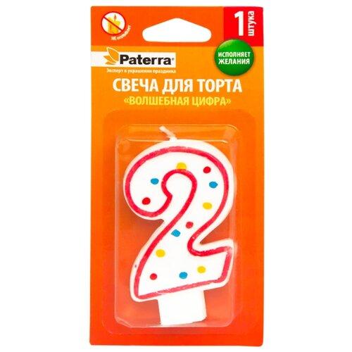 Paterra Свеча для торта Волшебная цифра 2 белый/красный