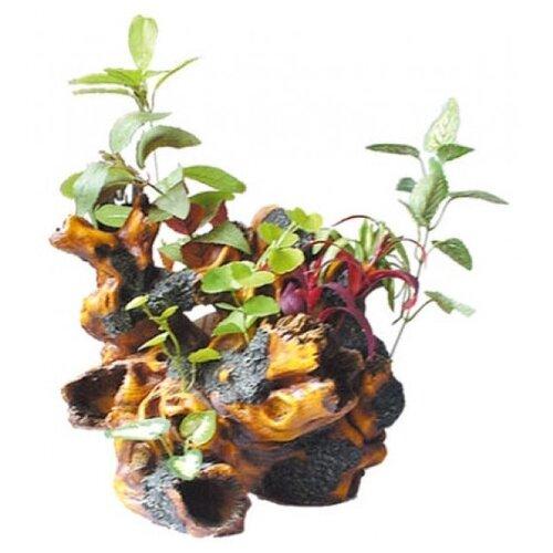 Коряга для аквариума KW Zone с растениями U-285 25х24.5х32 см зеленый/желтый/красный/коричневый
