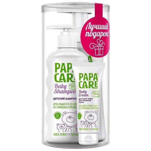 Papa Care Набор Детский шампунь + Пенка для купания + Детский крем для кожи (3 шт.) детский крем веледа купить