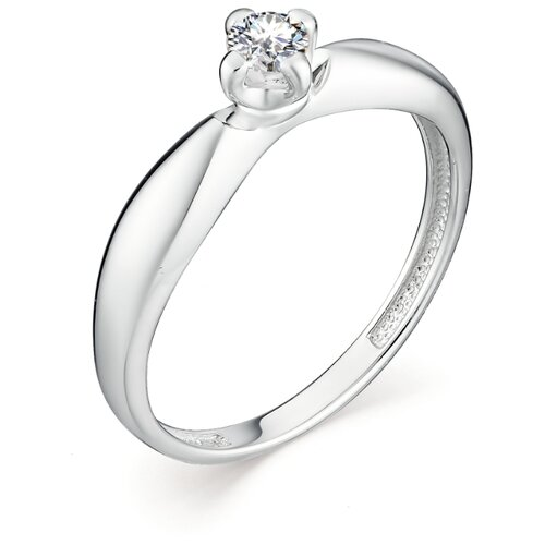 АЛЬКОР Кольцо с 1 бриллиантом из белого золота 12958-200, размер 17 алькор кольцо с 1 бриллиантом из белого золота 13299 200 размер 17