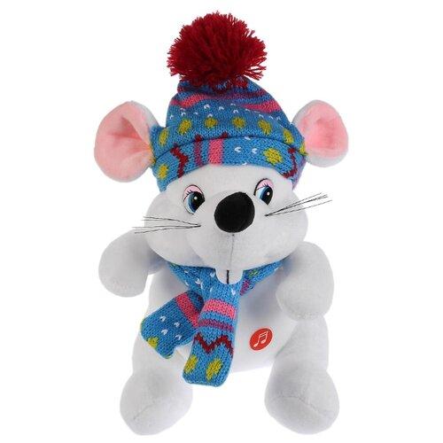 Купить Мягкая игрушка Мульти-Пульти Мышка белая в шапке и шарфике озвученная 15 см, Мягкие игрушки