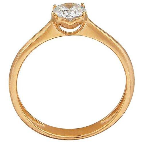Эстет Кольцо с 1 фианитом из красного золота 01К119297, размер 18.5 фото