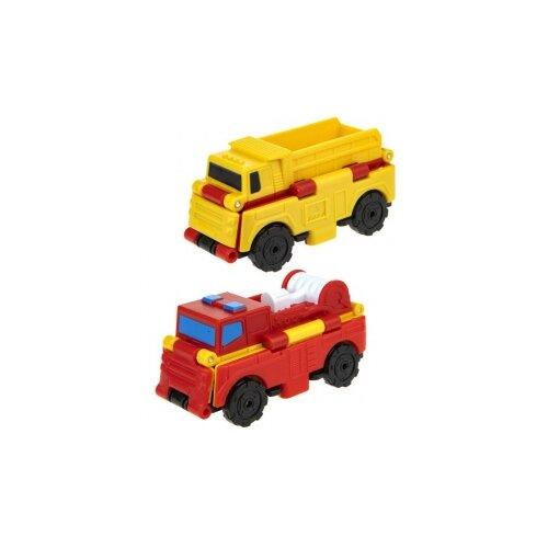 Купить Машинка 1 TOY Transcar Double 2 в 1: Грузовик/Пожарная машина (Т18284) 8 см желтый/красный, Машинки и техника