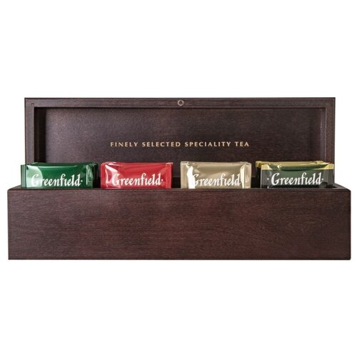 Фото - Чай Greenfield ассорти в пакетиках подарочный набор в деревянной шкатулке , 48 шт. подарочный чайный набор craftea happy birthday в деревянной шкатулке
