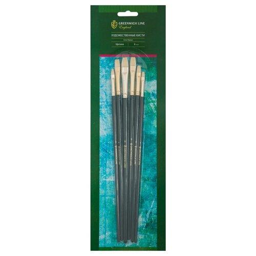 Купить Набор кистей Greenwich Line Алла Прима, щетина, плоские, длинная ручка, 6 шт. (AB_15908), Кисти