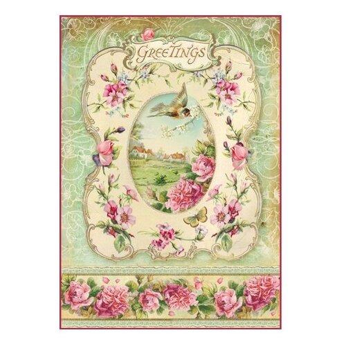 Купить Бумага рисовая мини - формат Рамочка с приветствием 21 х 29, 7 см (A4) 1 лист, Stamperia, Карты, салфетки, бумага