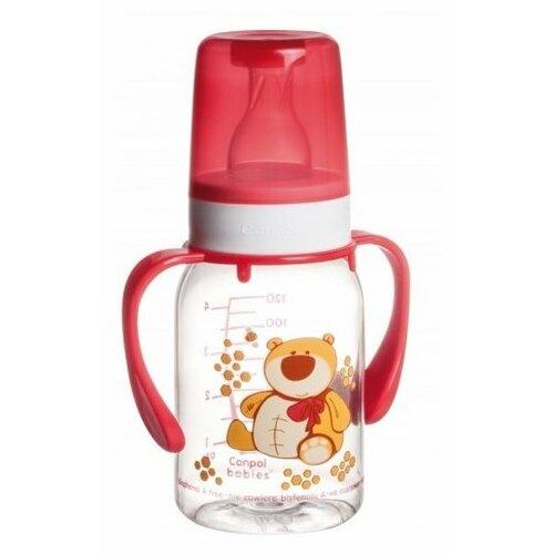 Купить Canpol Babies Бутылочка тритановая с ручками 120 мл Забавные животные с 3 мес., красный, Бутылочки и ниблеры
