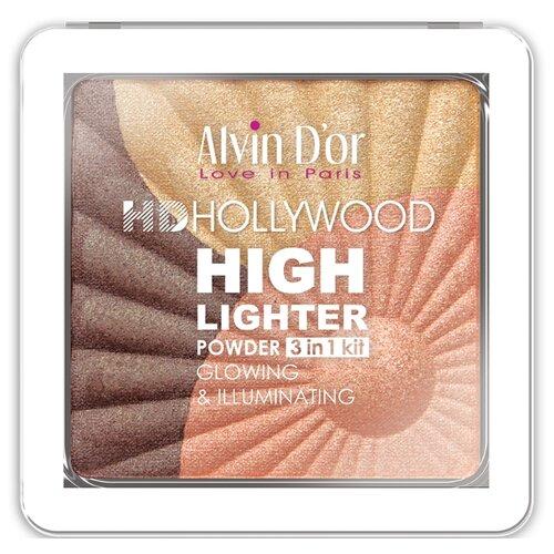 Alvin D'or Хайлайтер Hd Hollywood Glow Illuminating 3 in 1 kit тон 03 belor design хайлайтер smart girl incredible hollywood тон 2