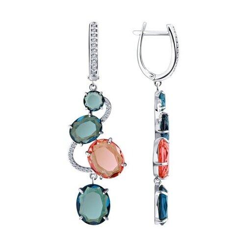 Diamant Серьги из серебра со стеклянными вставками и фианитами 94-121-00616-1