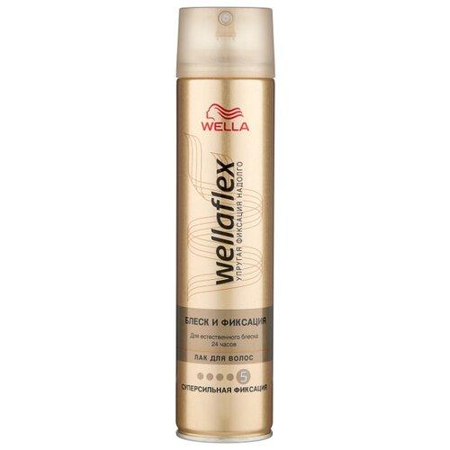 Wella Лак для волос Wellaflex Блеск и фиксация суперсильной фиксации, экстрасильная фиксация, 250 мл недорого