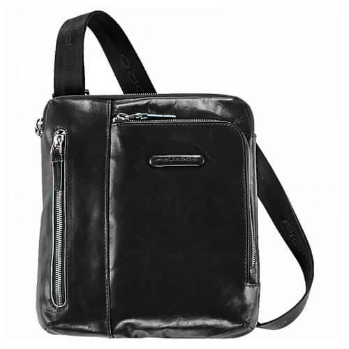 Мужская кожаная сумка с плечевым ремнем Piquadro Blue Square черная