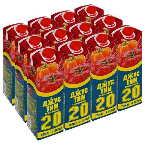 Сок Джус Тим Томат - 4 перца, без сахара, 1 л, 12 шт. сок swell томат без сахара 0 25 л 8 шт
