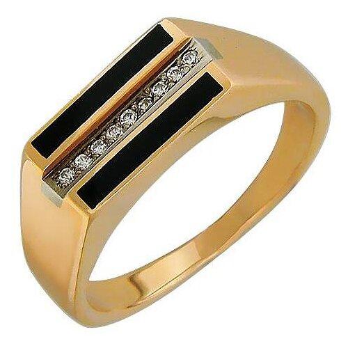 Эстет Кольцо с фианитами и ониксами из комбинированного золота 01Т463782-1, размер 19 ЭСТЕТ
