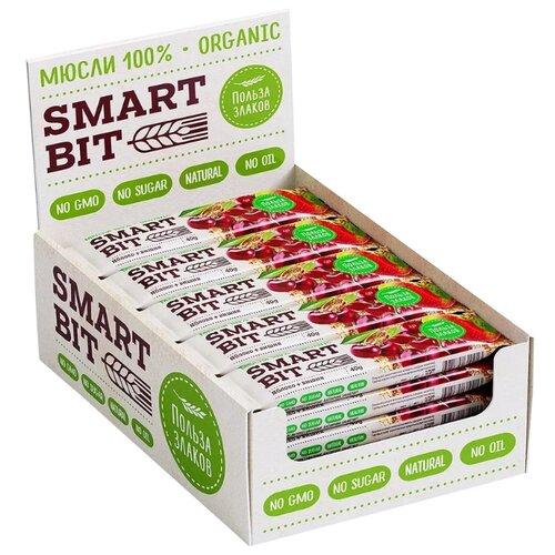Злаковый батончик SMARTBIT мюсли без сахара Яблоко вишня, 20 шт take a bitey яблоко вишня батончик фруктово ягодный 25 г