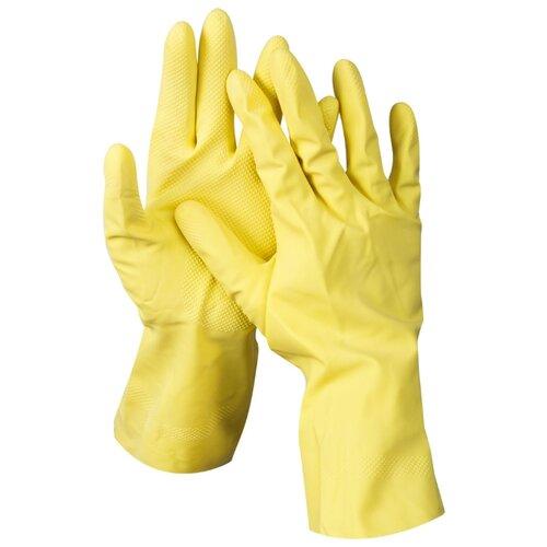 цена Перчатки DEXX латексные 11201, 1 пара, размер L, цвет желтый онлайн в 2017 году