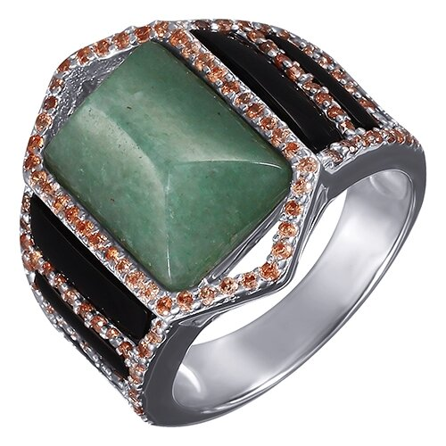 Фото - JV Серебряное кольцо с авантюрином, цирконием, ониксом RS8044AVE-KO-AW-OX-001-WG, размер 17.5 jv кольцо с ониксами и фианитами из серебра pr150002b ox 001 wg размер 17