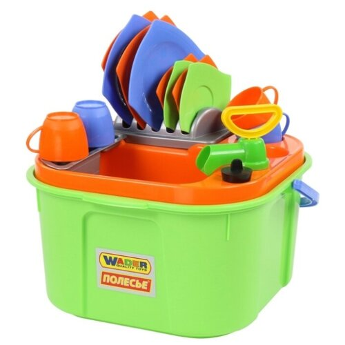 Фото - Игровой набор Wader 42002 зеленый/оранжевый/желтый/голубой игровой набор bondibon кафе гамбургерная вв3699 желтый зеленый