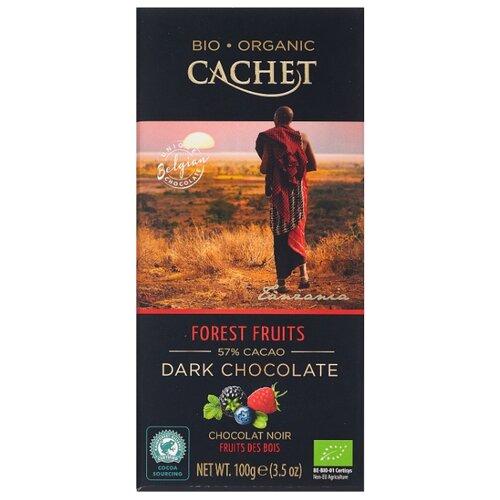 шоколад cachet organic органический горький 57% с абрикосом и лесным орехом 100 г Шоколад Cachet горький c лесными ягодами, 57%, 100 г