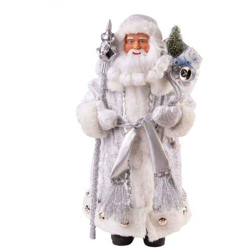 Фигурка Феникс Present Дед Мороз в серебряном костюме 30 см серебряный/белый