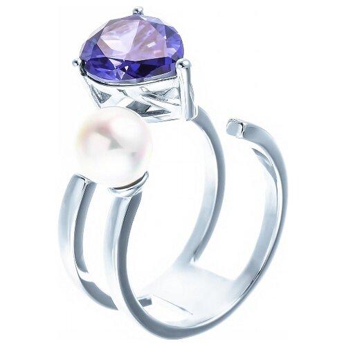 JV Кольцо с жемчугом и фианитами из серебра OL01362E-KO-WM-001-WG, размер 17 jv кольцо с фианитами из серебра r150424d ko 001 wg размер 17