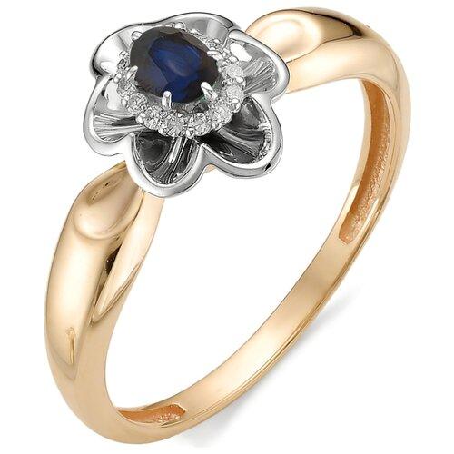 АЛЬКОР Кольцо Цветок с сапфиром, бриллиантами из красного золота 11979-102, размер 16.5 фото